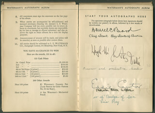 Autographs: PRESIDENT CALVIN COOLIDGE - SIGNATURE(S) CO-SIGNED BY: MARTIN ELMER JOHNSON, OSA H. JOHNSON, BEATRICE LILLIE, ALFRED E. SMITH, MARIA JERITZA, ROSA PONSELLE, WALTER HAMPDEN, GRANTLAND AMERICA'S HOMER RICE, LOWELL THOMAS, GENE TUNNEY, GEORGE ARLISS, BRUCE BARTON, EMILY POST, PAUL POPS WHITEMAN, DANIEL C. BEARD, WILLIAM (CHARLES WILLIAM) BEEBE, HAROLD LLOYD, ROY CHAPMAN ANDREWS, EDDIE CANTOR, ELLSWORTH VINES, CARL SANDBURG, THORNTON WILDER, JANE ADDAMS, FIRST LADY GRACE COOLIDGE, VICE PRESIDENT CHARLES CURTIS, HARRY EMERSON FOSDICK, LILY PONS, RUDY VALLEE, FIRST LADY EDITH BOLLING WILSON, GAR (GARFIELD ARTHUR) WOOD, ED WYNN, JAMES MONTGOMERY FLAGG, ZANE GREY, FIRST LADY EDITH K. ROOSEVELT, LORADO TAFT, HELEN L. HICKS, CARMELA PONSELLE, JAMES ROWLAND ANGELLO, MILDRED HALE, MILTON COOPER WO
