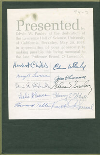 EDWARD TELLER - BOOK SIGNED CIRCA 1968 CO-SIGNED BY: GLENN T. SEABORG, EDWIN M. McMILLAN, LT. GENERAL LESLIE R. GROVES, ROBERT SPROUL, HERBERT CHILDS, EDWIN W. PAULEY, MARY B. LAWRENCE, HARVEY E. WHITE, JOHN H. LAWRENCE