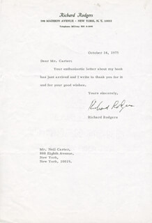 RICHARD RODGERS - TYPED LETTER SIGNED 10/14/1975