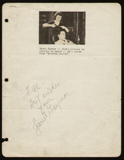 JANET GAYNOR - AUTOGRAPH NOTE SIGNED