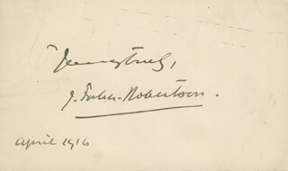 JOHNSTON FORBES-ROBERTSON - AUTOGRAPH SENTIMENT SIGNED 04/1916