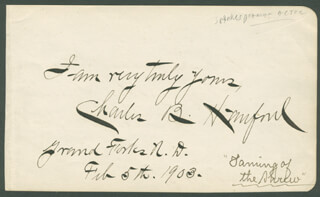 CHARLES B. HANFORD - AUTOGRAPH SENTIMENT SIGNED 02/05/1903 CO-SIGNED BY: MARIE (MRS. CHARLES HANFORD) DROFNAH