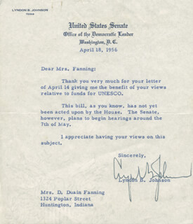 PRESIDENT LYNDON B. JOHNSON - TYPED LETTER SIGNED 04/18/1956