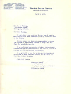 WILLIAM E. JENNER - TYPED LETTER SIGNED