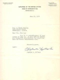 CHARLES A. HALLECK - TYPED LETTER SIGNED
