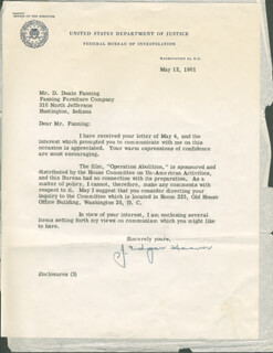J. EDGAR HOOVER - TYPED LETTER SIGNED 05/12/1961