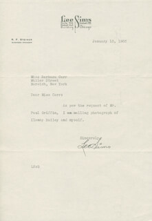 LEE SIMS - TYPED LETTER SIGNED 01/13/1933