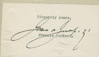 Autographs: FRANCIS TONDORF - TYPED SENTIMENT SIGNED