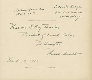Autographs: MARION LEROY BURTON - SIGNATURE(S) 03/06/1913 CO-SIGNED BY: LAURENUS CLARK SEELYE