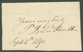 PAUL B. DU CHAILLU - AUTOGRAPH SENTIMENT SIGNED 09/04/1890