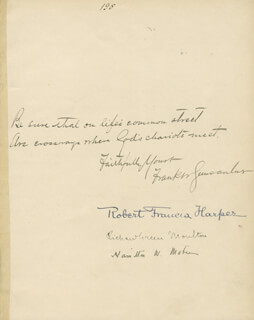 FRANK W. GUNSAULUS - AUTOGRAPH QUOTATION SIGNED CO-SIGNED BY: ROBERT FRANCIS HARPER, RICHARD GREEN MOULTON, HAMILTON W. MABIE