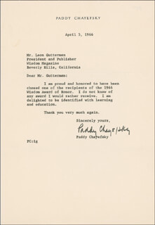 PADDY CHAYEFSKY - TYPED LETTER SIGNED 04/05/1966
