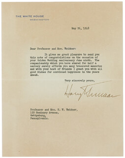 PRESIDENT HARRY S TRUMAN - TYPED LETTER SIGNED 05/26/1948