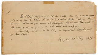 Autographs: HENRY CLAY - THIRD PERSON AUTOGRAPH LETTER 07/20/1818