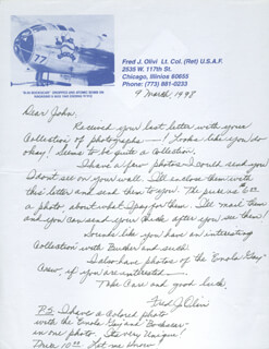 BOCK'S CAR CREW (FRED OLIVI) - AUTOGRAPH LETTER SIGNED