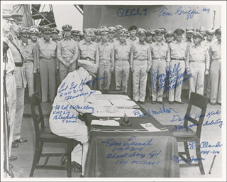 Autographs: BLACK SHEEP SQUADRON - PHOTOGRAPH SIGNED CO-SIGNED BY: ENOLA GAY CREW (THEODORE VAN KIRK), ENOLA GAY CREW (MORRIS JEPPSON), COLONEL RICHARD E. COLE, MAJOR THOMAS C. GRIFFIN, LT. COLONEL JAMES J. HILL, ENOLA GAY CREW , DOOLITTLE RAIDERS , COLONEL EDWIN A. HARPER, EDWIN L. OLANDER, LT. COLONEL THOMAS EMRICH, GENERAL BRUCE J. MATHESON, COLONEL ROBERT W. McCLURG