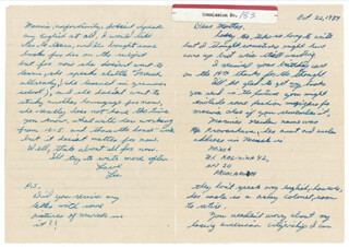 Autographs: LEE HARVEY OSWALD - AUTOGRAPH LETTER SIGNED 10/22/1959