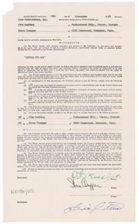 OTIS REDDING - DOCUMENT SIGNED 11/18/1965 CO-SIGNED BY: STEVE CROPPER