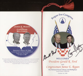 Autographs: PRESIDENT GERALD R. FORD - PAMPHLET SIGNED CIRCA 1998 CO-SIGNED BY: JAMES E ROGAN