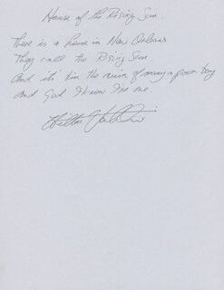 Autographs: THE ANIMALS (HILTON VALENTINE) - AUTOGRAPH LYRICS SIGNED