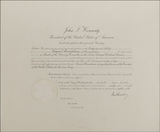 Autographs: PRESIDENT JOHN F. KENNEDY - CIVIL APPOINTMENT SIGNED 11/14/1961