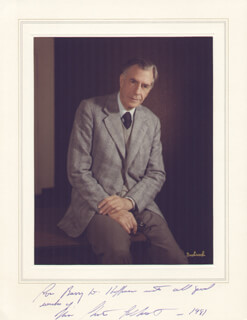 JOHN KENNETH GALBRAITH - INSCRIBED PHOTOGRAPH MOUNT SIGNED 1981