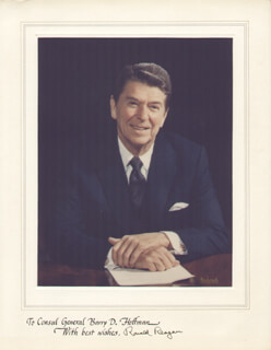 PRESIDENT RONALD REAGAN - INSCRIBED PHOTOGRAPH MOUNT SIGNED
