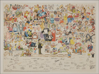 CHARLES M. SCHULZ - POSTER SIGNED CO-SIGNED BY: DIK BROWNE, JOHNNY HART, HANK KETCHAM, JACK KIRBY, MORT WALKER, THOMAS A. ARMSTRONG, STAN LEE, BIL KEANE, RUSSELL MYERS, BOB K. TAYLOR, JIM DAVIS, JIM UNGER, TOM BATIUK, JACK HANNAH, DON WILDER, JACK DAVIS, ARNOLD ROTH, JERRY SCOTT, SERGIO ARAGONES, JEFF MacNELLY, WILL ELDER, WALTER LANTZ, FRED LASSWELL, BILL JUSTICE, DEAN YOUNG, DICK LOCHER, BRAD ANDERSON, JERRY DUMAS, MORT DRUCKER, STANLEY