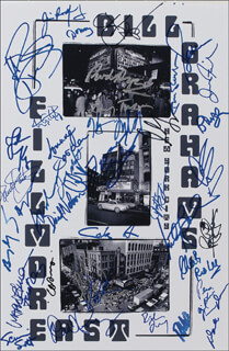 FILLMORE EAST - AUTOGRAPHED SIGNED POSTER CO-SIGNED BY: JETHRO TULL (MARTIN BARRE), TEN YEARS AFTER (RIC LEE), TEN YEARS AFTER (LEO LYONS), THREE DOG NIGHT (CHUCK NEGRON), CREEDENCE CLEARWATER REVIVAL (DOUGLAS RAY CLIFFORD), JEFFERSON AIRPLANE (MARTY BALIN), THE KINKS (JIM RODFORD), JEFFERSON AIRPLANE (PAUL KANTNER), SHA NA NA (LENNIE BAKER), SHA NA NA (SCOTT SCREAMIN SCOTT SIMON), SHA NA NA (DON YORK), STEVE CROPPER, DUCK (DONALD) DUNN, NEW RIDERS OF THE PURPLE SAGE (DAVID NELSON), GRATEFUL DEAD (TOM CONSTANTEN), WAR (LONNIE JORDAN), QUICKSILVER MESSENGER SERVICE (DAVID FRIEBERG), RICHIE FURAY, STEPPENWOLF (JOHN KAY), SLY AND THE FAMILY STONE (CYNTHIA ROBINSON), SLY AND THE FAMILY STONE (JERRY MARTINI), DEEP PURPLE (IAN PAICE), THE BYRDS (CHRIS HILLMAN), TURTLES, THE (MARK VOLMAN), THE