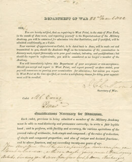 Autographs: VICE PRESIDENT JOHN C. CALHOUN - DOCUMENT SIGNED 03/22/1822