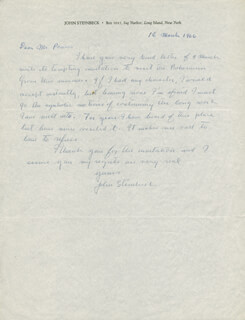 JOHN STEINBECK - AUTOGRAPH LETTER SIGNED 03/18/1966