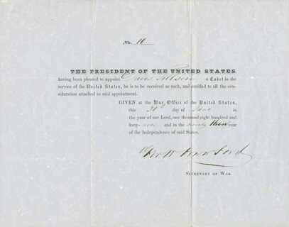 Autographs: GEORGE W. CRAWFORD - PRINTED DOCUMENT SIGNED IN INK 06/30/1849