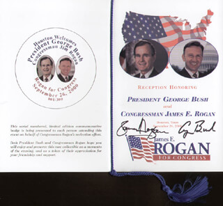 Autographs: GEORGE H.W. BUSH & JAMES E. ROGAN COMBINATION!!