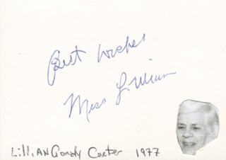 LILLIAN G. CARTER - AUTOGRAPH SENTIMENT SIGNED CIRCA 1977