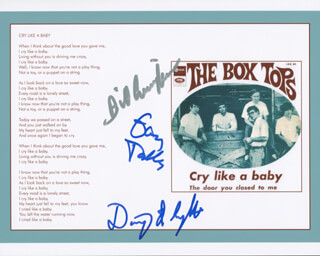 THE BOX TOPS - AUTOGRAPHED SIGNED PHOTOGRAPH CO-SIGNED BY: THE BOX TOPS (BILL CUNNINGHAM), THE BOX TOPS (GARY TALLEY), THE BOX TOPS (DANNY SMYTHE)