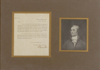 Autographs: ALEXANDER HAMILTON - PRINTED DOCUMENT FRAGMENT SIGNED IN INK 08/31/1792