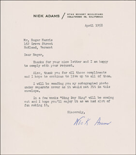 NICK THE REBEL ADAMS - TYPED LETTER SIGNED 4/1958
