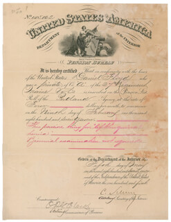 Autographs: MAJOR GENERAL CARL SCHURZ - DOCUMENT SIGNED 05/05/1877 CO-SIGNED BY: OTIS P.G. CLARKE