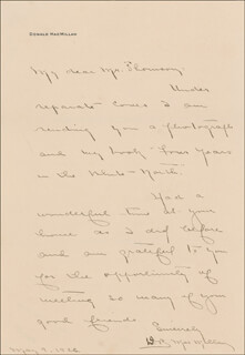 DONALD B. MacMILLAN - AUTOGRAPH LETTER SIGNED 05/09/1926