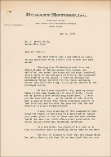 WILLIAM C. DURANT - TYPED LETTER SIGNED 05/11/1927