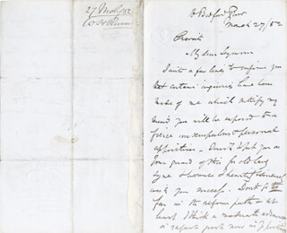 Autographs: WILLIAM HOWARD RUSSELL - AUTOGRAPH LETTER SIGNED 03/27/1852