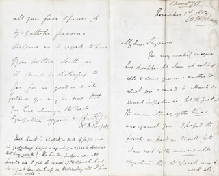 Autographs: WILLIAM HOWARD RUSSELL - AUTOGRAPH LETTER SIGNED 11/01/1853