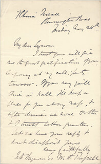 Autographs: WILLIAM HOWARD RUSSELL - AUTOGRAPH LETTER SIGNED 5/24