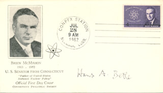 HANS ALBRECHT BETHE - FIRST DAY COVER SIGNED
