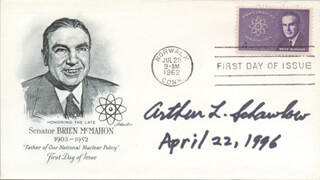 ARTHUR L. SCHAWLOW - FIRST DAY COVER SIGNED 04/22/1996