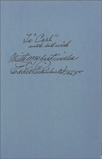 MAJOR EDWARD V. EDDIE RICKENBACKER - INSCRIBED BOOK SIGNED 1967