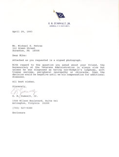 ADMIRAL ELMO R. ZUMWALT JR. - TYPED LETTER SIGNED 04/29/1993