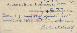 ERSKINE CALDWELL - AUTOGRAPHED SIGNED CHECK 03/31/1933