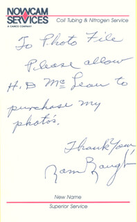 SAMMY BAUGH - AUTOGRAPH NOTE SIGNED  - HFSID 285443