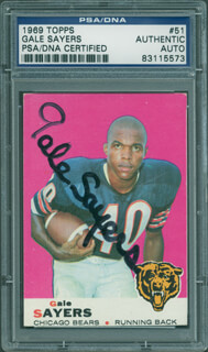 GALE SAYERS - TRADING/SPORTS CARD SIGNED